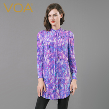 VOA 100%  silk shirt female Summe 2017 stand collar novelty loose long sleeved shirt B6615