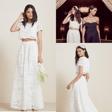 Sexy Vintage 2015 Two Piece Lace Wedding Dresses Beach Garden Bridal Party Gowns White Ivory Cap Sleeve Ankle Length