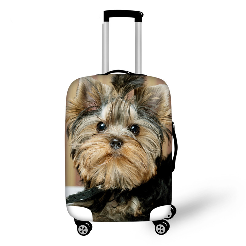 Thick Elastic Luggage Suitcase Cover Apply To 18-30 Inch Cases 3D Yorkies Dog Trolley Case Covers Travel Acessories