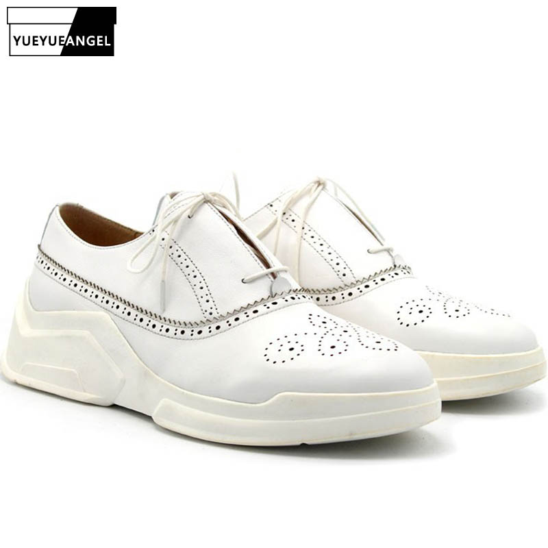 2019 New Fashion Men Wing Tip Brogue Shoes Tenis Sneakers Med Heels Lace Up Genuine Leather Casual High Street Platform Shoes2019 New Fashion Men Wing Tip Brogue Shoes Tenis Sneakers Med Heels Lace Up Genuine Leather Casual High Street Platform Shoes