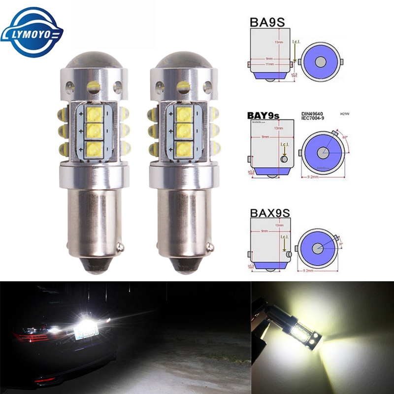 Car LED 5050 SMD Reverse Parking Stop Light BA9S Bayonet 8000K Bulb Retrofit DIY