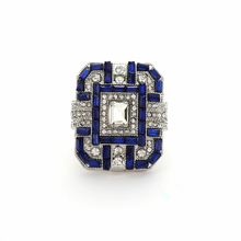 1 PC Antique Art Deco Large 925 Sterling Silver Blue Sapphire Ring Women Men Anniversary Proposal Gift Jewelry