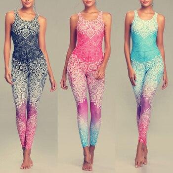 LI-FI Mandala Print Yoga Set Fitness Women Sports Running Suit Gym Wear Halter Vest Workout Elastic Quick Dry Yoga Sets 1