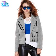 New 2017 Fashion Slim Casual Double Zippers Cropped Jackets Women Full Sleeve Turn-down Collar Solid Spring Autumn Winter Coat