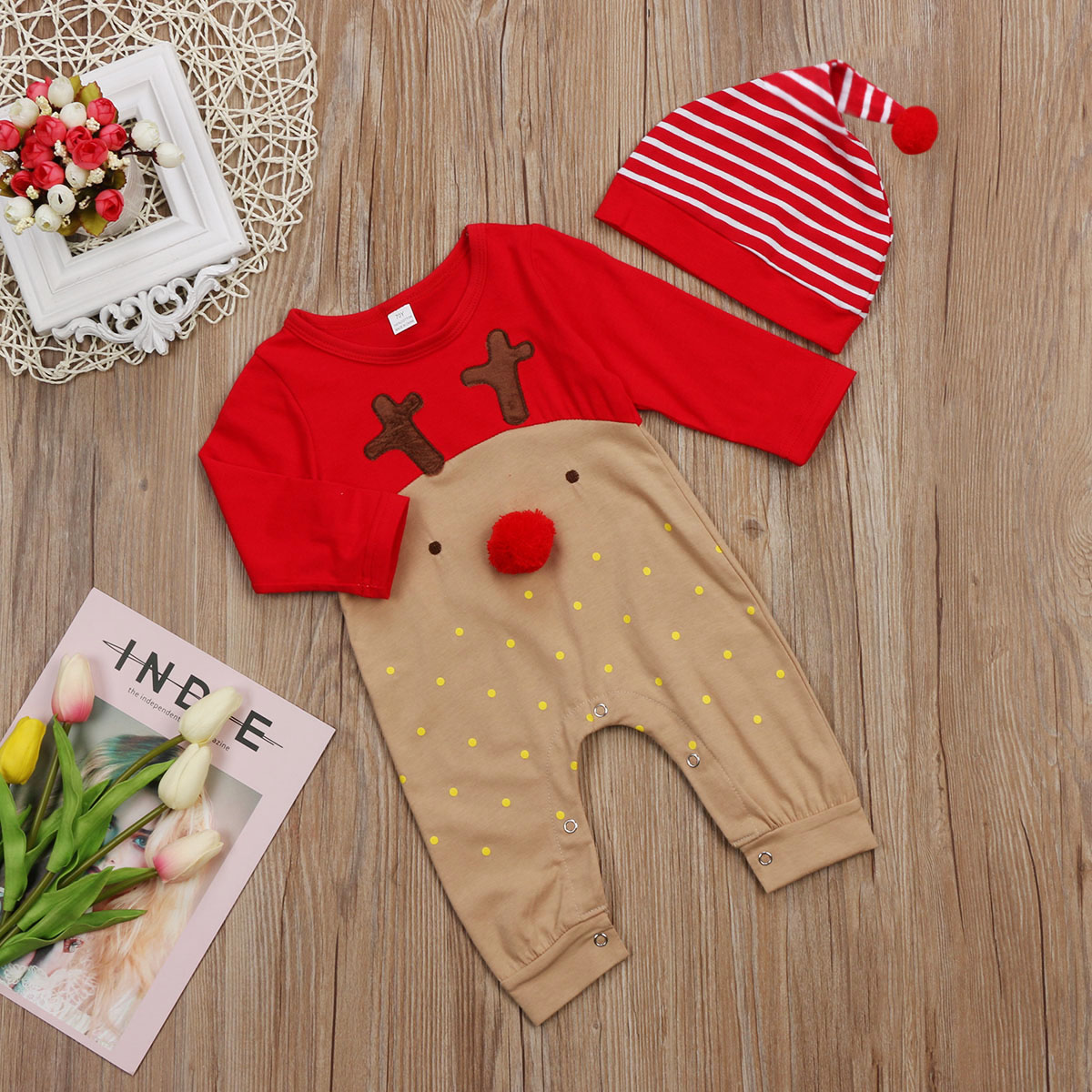 HTB1JNS4aoz1gK0jSZLeq6z9kVXaB Emmababy 2Pcs Newborn Baby Boys Girl Christmas Rompers Long Sleeve Deer Romper Jumpsuit Hat Sleepwear Party Costume Baby Clothes