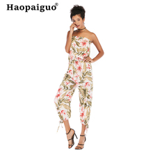 Plus Size 2019 Summer Slash Neck Bodysuit Women Chiffon Sexy Bodysuit Backless Print Floral Bodysuit Jumpsuit Overalls недорого