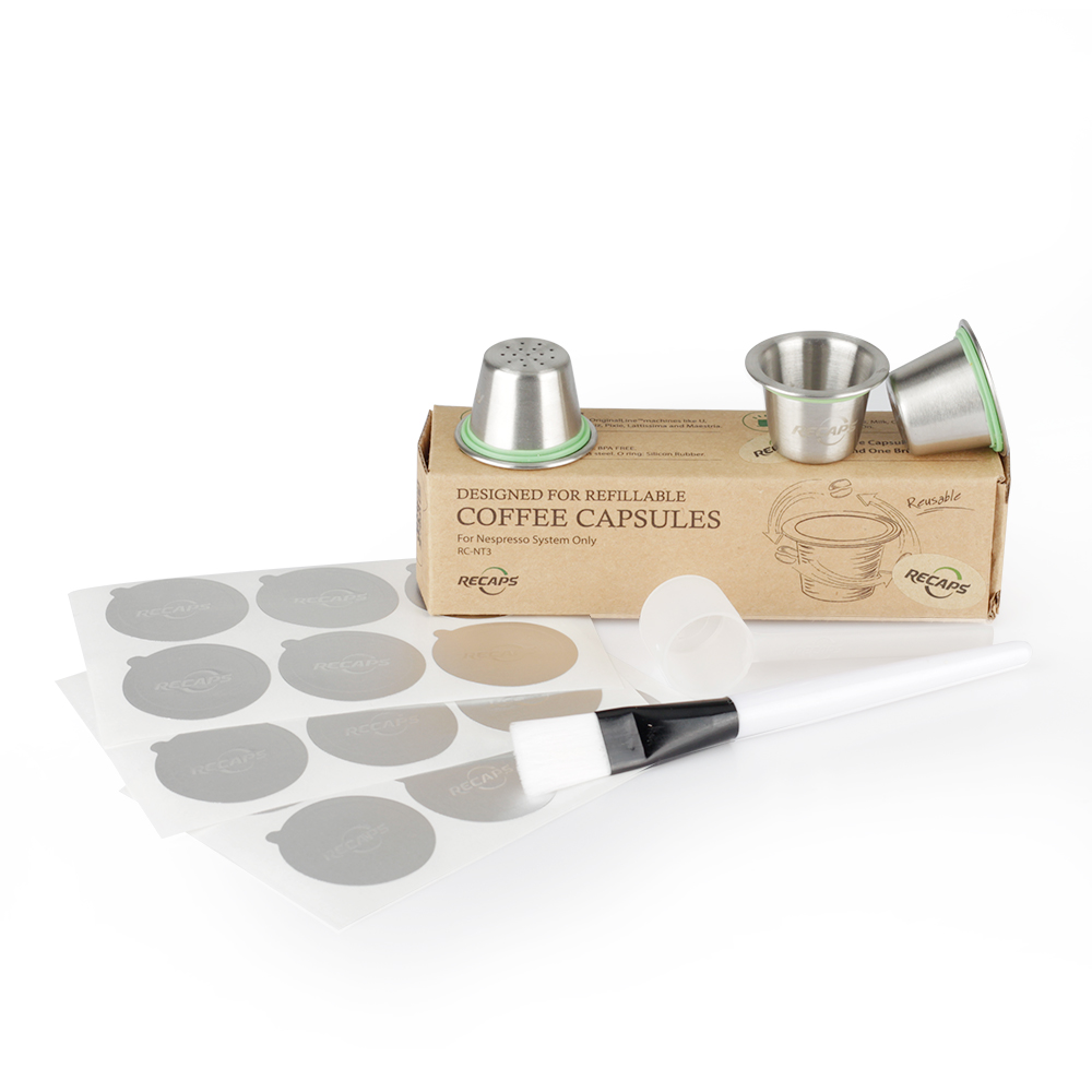 Stainless Steel Refillable Capsule Pod Or Tamper Or Disposable Empty Coffee Capsule Pod + Aluminum Seals For Nespresso Machines