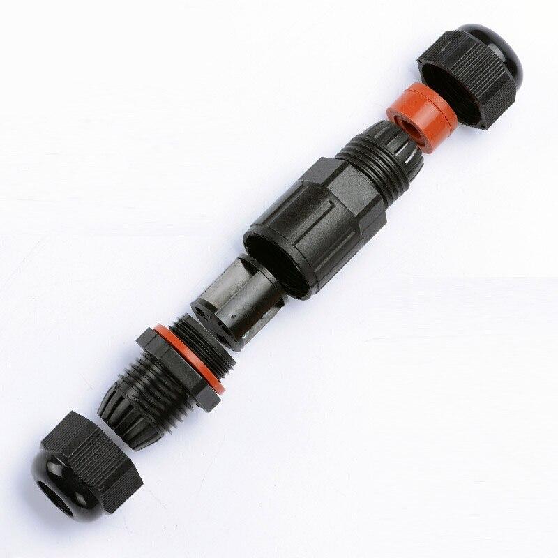 Черный разъем светодиодного кабеля водонепроницаемый IP68 250V & 16a 6-12mm электрический провод герметичный замедлитель 3 pin провод Conector для светод...