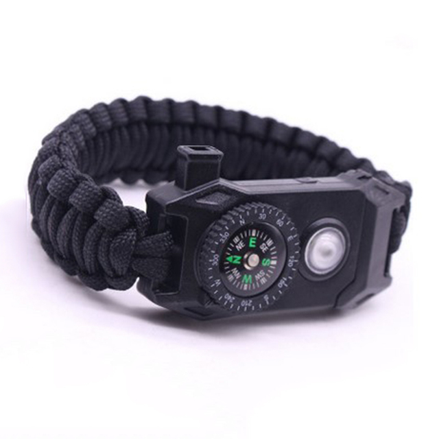 Marcatsa Multifunctional Led Paracord Survival Braided Rope Bracelets For Men Outdoor Camping Emergency Comp Whistle Bracelet