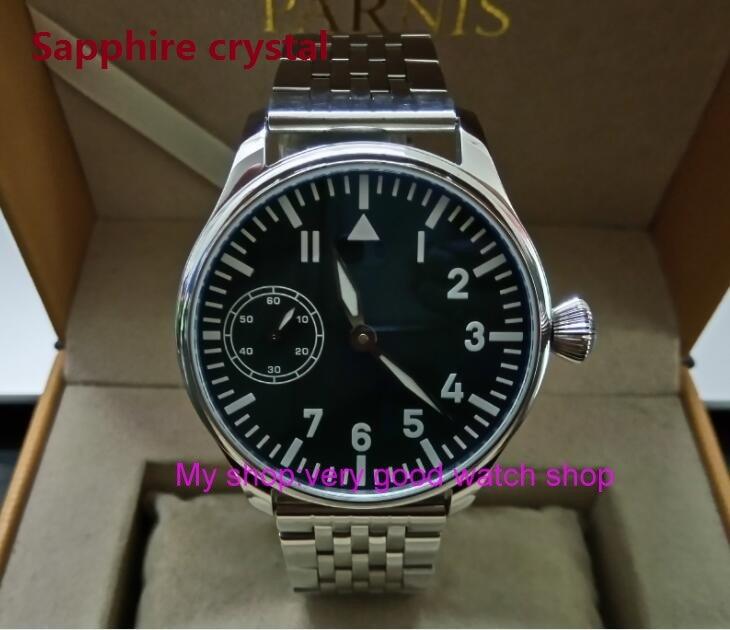 Sapphire crystal 44mm PARNIS Black dial Asian 6497 Gooseneck Mechanical Hand Wind movement blue Luminous men's watch sdgd05 цена 2017