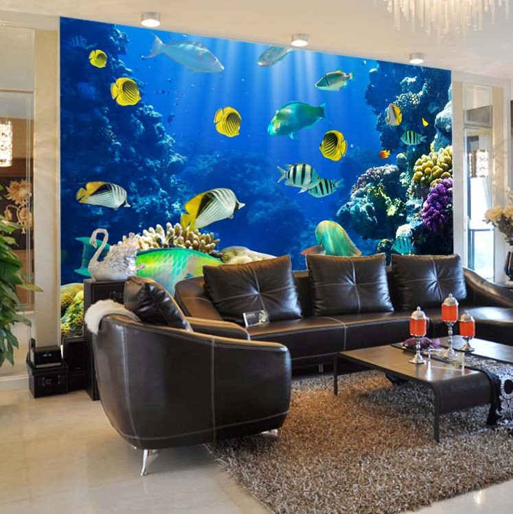 Custom 3d mural wallpaper Color living underwater world of tropical fish restaurant in the hotel bar backdrop 3d photo wallpaper large mural wallpaper wallpaper ktv theme hotel restaurant 3d d poster three shark underwater world
