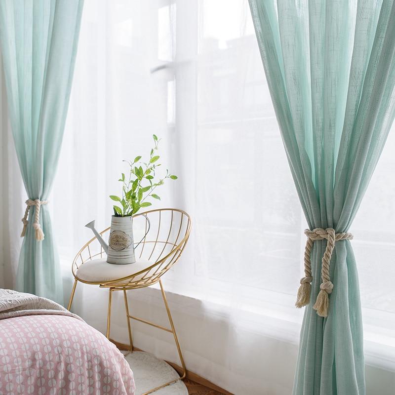 awesome light green living room curtains   Linen Like Soild Light Color Green Sheer Window Curtain ...