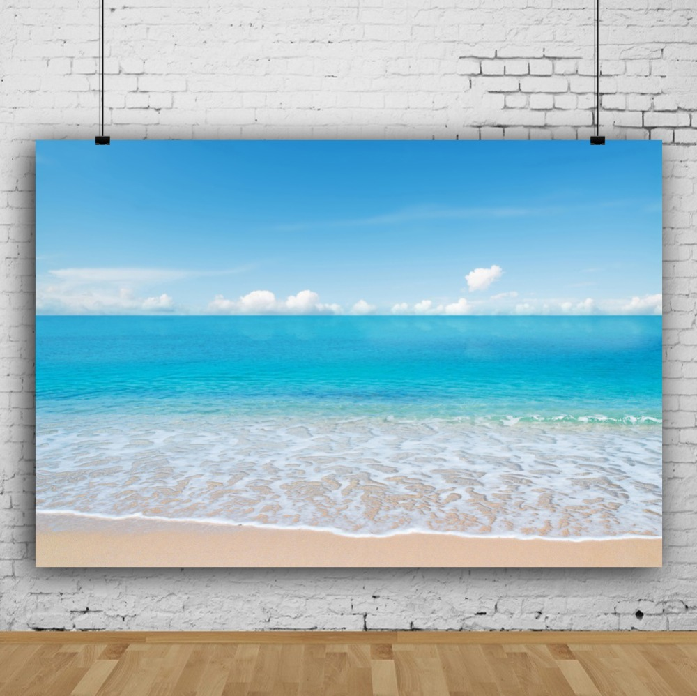Laeacco Tropical Seaside Landscape Blue Sky Cloud Scene Children Photography Backdrops Photographic Backgrounds For Photo Studio
