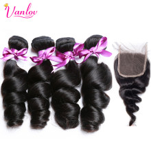 Vanlov Loose Wave 4 Bundles With Closure Natural Color Peruvian Human Hair Bundles With Closure Non Remy Jet Black Hair Bundles(China)