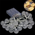 LED Battery Power String Lights 2M 20pcs White Handmade Crystal Balls String Lights Fairy Party Wedding Patio Christmas Decor