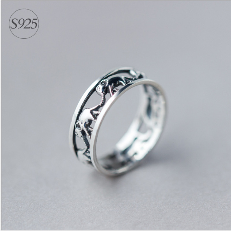 Cool Antique Finish Thailand Silver Hollow Elephant Ring Stackable Good Luck Animal Women Men Jewelry Couple