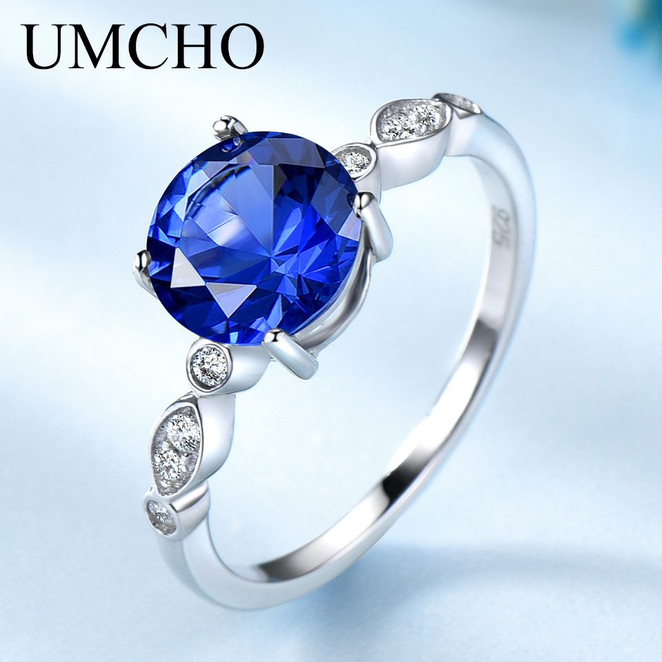 UMCHO Romantic Created Nano Sapphire Rings Solid 925 Sterling Silver Rings For Women Wedding Anniversary Gifts Fine Jewelry