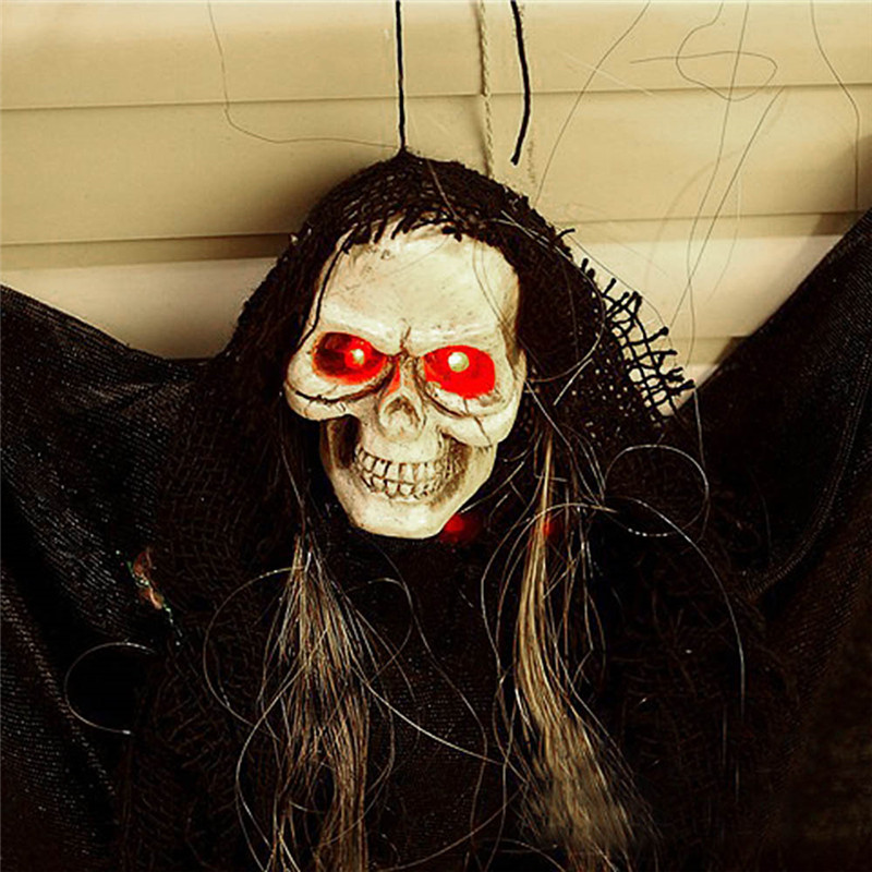 Halloween Hanging Skull Ghost Phantom Scary Sound Effect Party Decoration Props