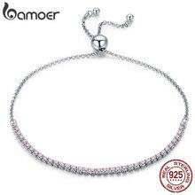 925 Sterling Silver Sparkling Women Link Tennis Bracelet