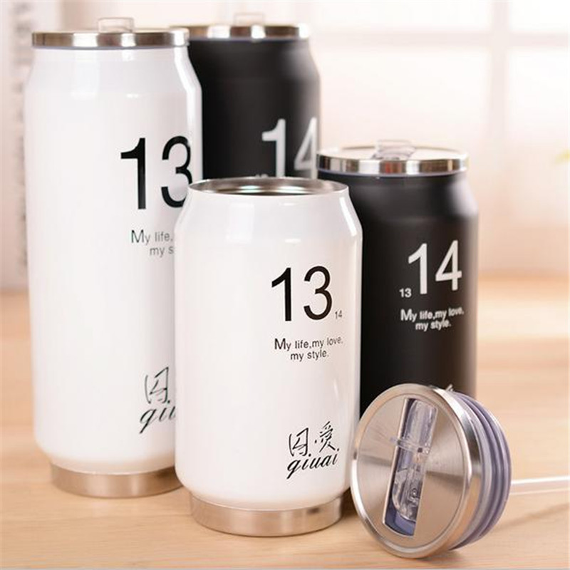 300ml/500ml <font><b>Water</b></font> Bottle Stainless Steel <font><b>Simple</b></font> Student <font><b>Drinking</b></font> <font><b>Cup</b></font> Fashion Cans Design Creative Gift