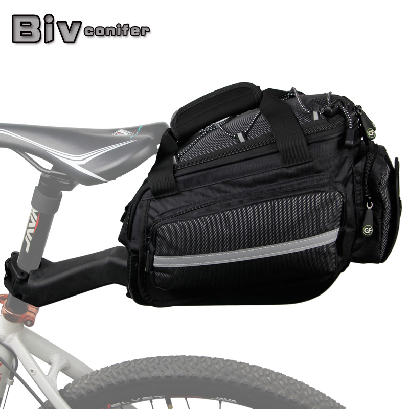 Conifer Travel Bicycle Rack Bag Carrier Trunk Bike Rear Bag Bycicle Accessory Raincover Cycling Seat Frame Tail Bike Luggage Bag roswheel 50l bicycle waterproof bag retro canvas bike carrier bag cycling double side rear rack tail seat trunk pannier two bags