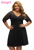 Adogirl Women Sexy Size Sugar And Spice Dress Deep V Neck Sheer 3 4 Sleeves A