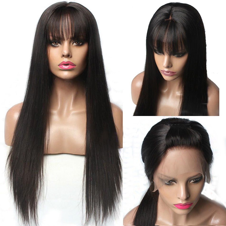 Hesperis 13x6 Lace Front Human Hair Wigs With Bangs For Black Women Remy Brazilian Human Hair Lace Front Wig Pre Plucked Bang(China)