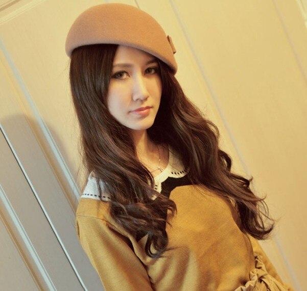 Divat női HAT őszi és téli vintage íj gyapjú fedoras sapka - Ruházati kiegészítők - Fénykép 4