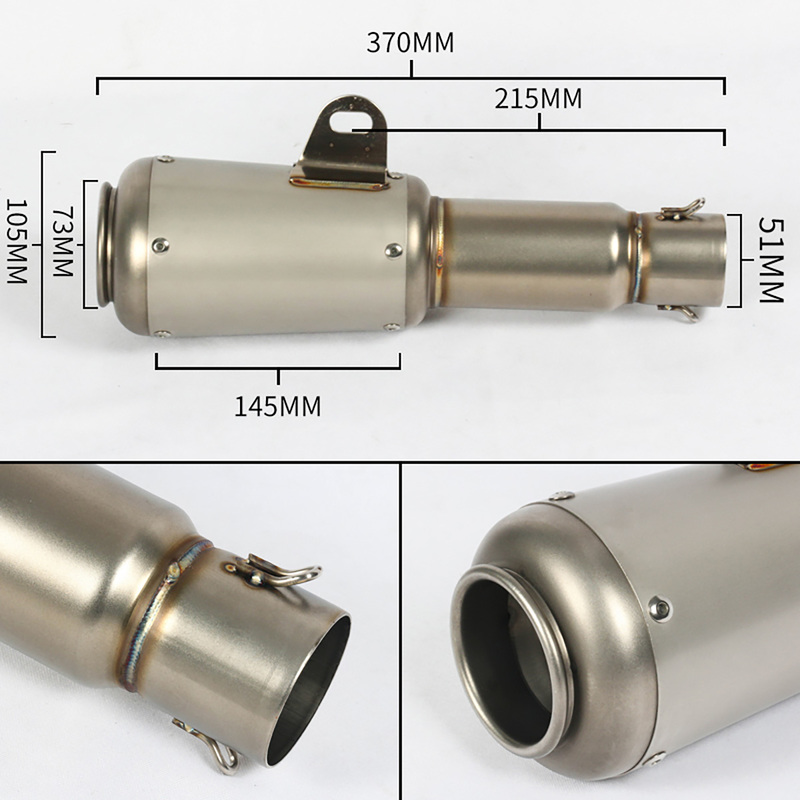 38 51mm Universal Motorcycle Exhaust Muffler Modified Moto Tail Pipe For R6 YZF R6 Honda CBF190R Ninja 650 ER6N Z650 ER6F in Exhaust Exhaust Systems from Automobiles Motorcycles