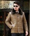 2016 nuevo invierno más el tamaño de Los Hombres chaquetas de cuero grande de piel cuello de los hombres de cuero de LA PU capa de la chaqueta de cuello alto ropa de abrigo parka chaquetas