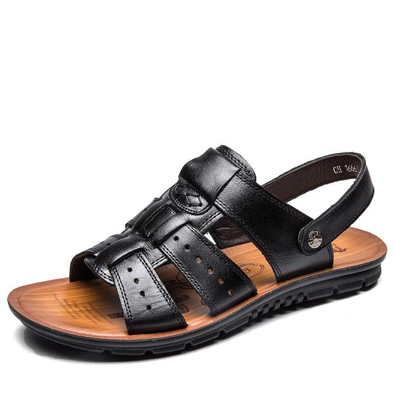 Elástico Preto Clássicos De Dos chocolate Plana Verão Romanas Couro Sapatos Básico Sólido Homens Praia Genuíno Sandálias Casuais BqYrwZFq