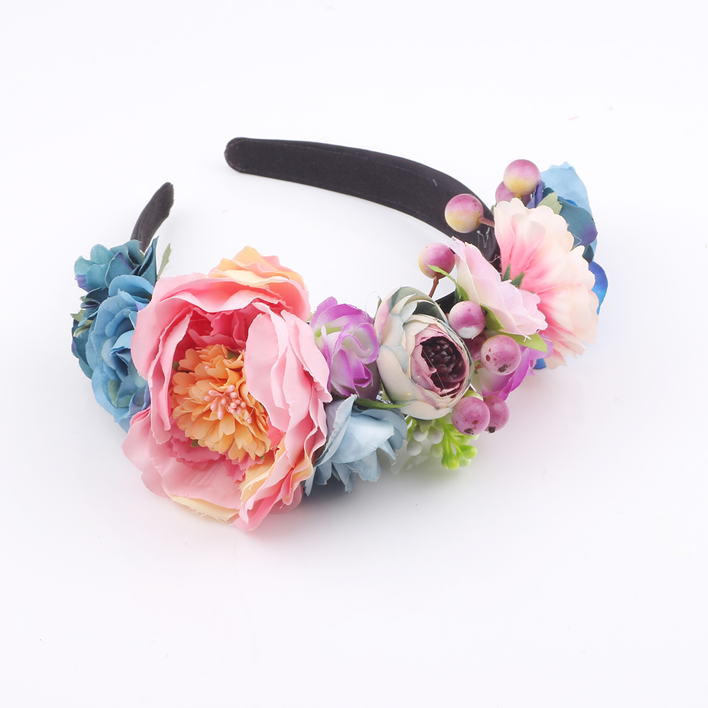 Boho Artificial Flower Crown Headpiece Women Wedding Floral Head