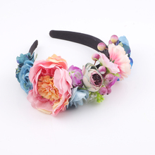 Boho artificial flower crown headpiece Women Wedding Floral Head Wreath Bridesmaid Bridal Headpiece Female Flower Headband