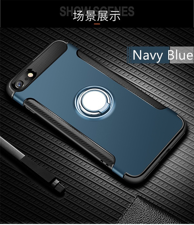 Silicone Edge Hard Back Standing Cover Case With Magnetic Ring for iPhone Models 13