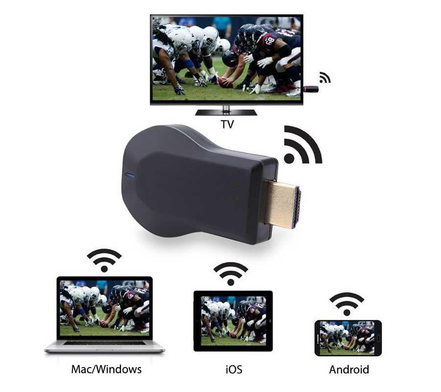 Anycast M4 além de Mídia HDMI de Vídeo Sem Fio Wi-Fi 1080P adaptador Receiver Exibição dongle Android TV Vara DLNA Airplay Miracast