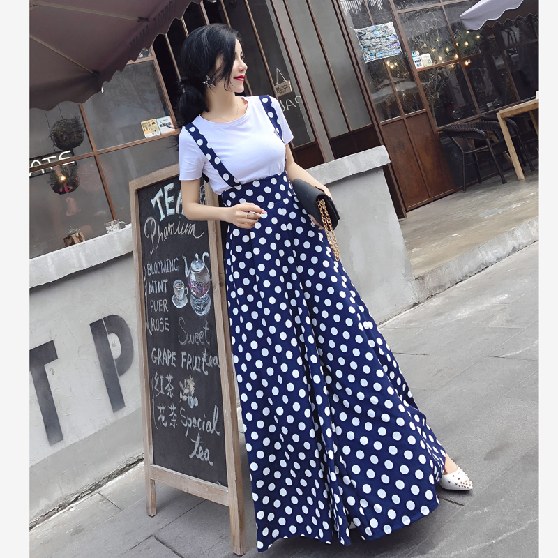 Vintage Polka Dot Flared pants   Jumpsuits   Summer Fashion Wave Dot Sling Wide Leg   Jumpsuits   Rompers with Cotton T-Shirt Set