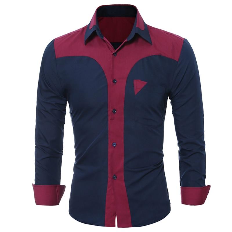 WSGYJ Brand 17 Fashion Male Shirt Long-Sleeves Tops Fashion Youth Hit Color Mens Dress Shirts Slim Men Shirt 3XL 9