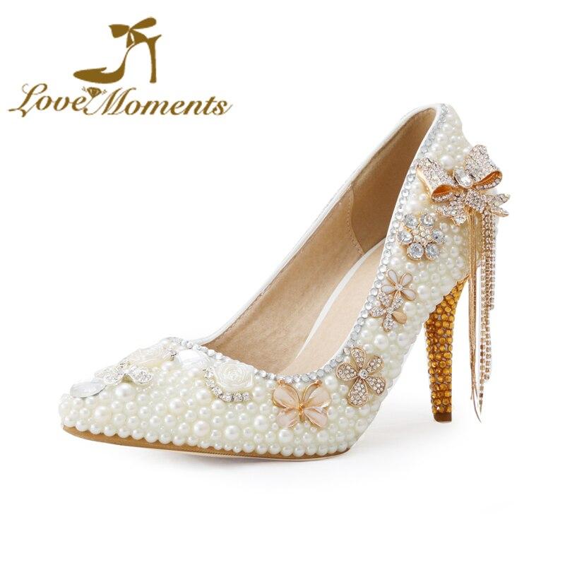 Cinta Momen Gading mutiara handmade sepatu pengantin dengan kristal gaun  pesta pernikahan menunjuk-toe sepatu bowtie rumbai bunga sepatu 92498a44ee42