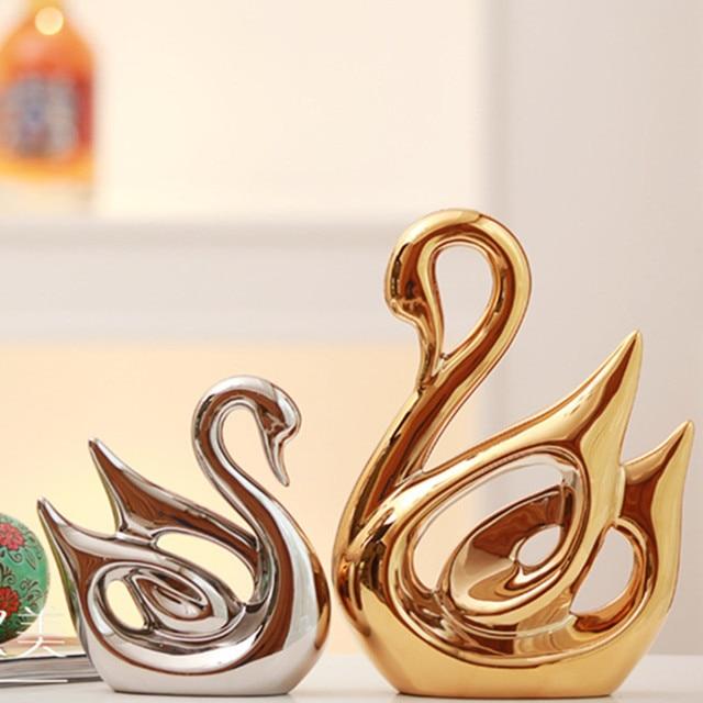 92b67882a89 Ouro e prata cerâmica contemporânea luxo casa artigos de decoração para casa  enfeites de cerâmica presente