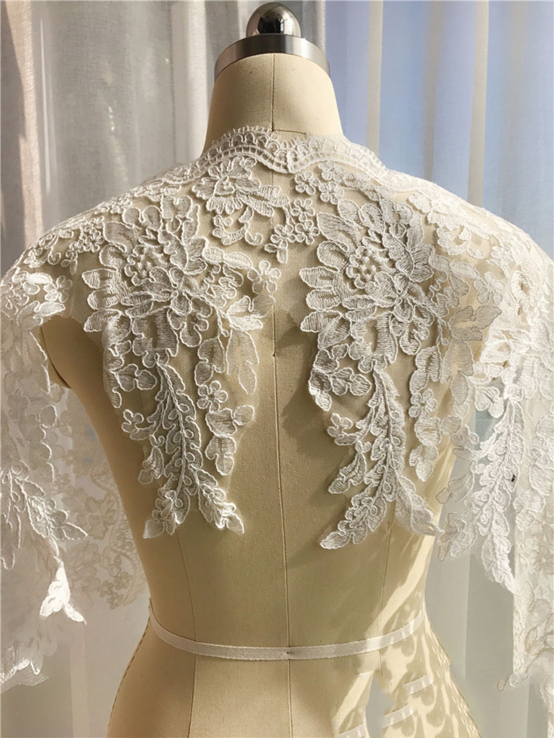 Bridal Corded Lace Applique Embroidery Lace Trim Ivory Golden Lace Accessories For DIY Wedding High Quality in Lace from Home Garden