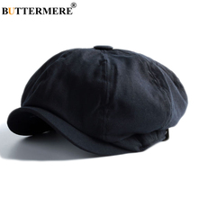 BUTTERMERE Mens Linen Flat Caps Black Newsboy Hats Male Spring Autumn Solid Octagonal Cap Duckbill Casual Painter and