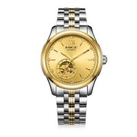 Mige 2018 Бесплатная доставка Скелет человек часы стальной ремешок водонепроницаемый Saphire черный годен турбийон механик мужские наручные часы