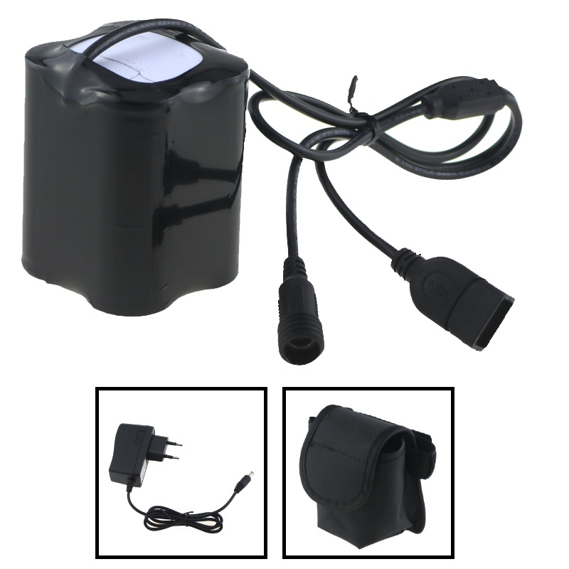 USB + DC Port 8.4V 20000mAh 4x 26650 Battery Pack With Screw Thread + Charger Plug for Bike Light Solarstorm X2 X3 T6 ECT