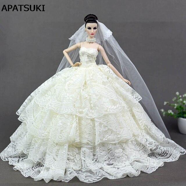 Beżowy Koronki Suknię ślubną Dla Lalka Barbie Księżniczka Wieczorne