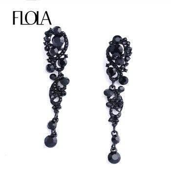 2fb8888e473a FLOLA nuevos pendientes negros largos colgantes grandes pendientes góticos  de diamantes de imitación de cristal para mujer joyería negra oorbellen  ersh87