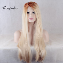 Strongbeauty Long Blonde Lace Front Wigs Synthetic Silky Straight Heat Resistant Synthetic Wig With Dark Roots