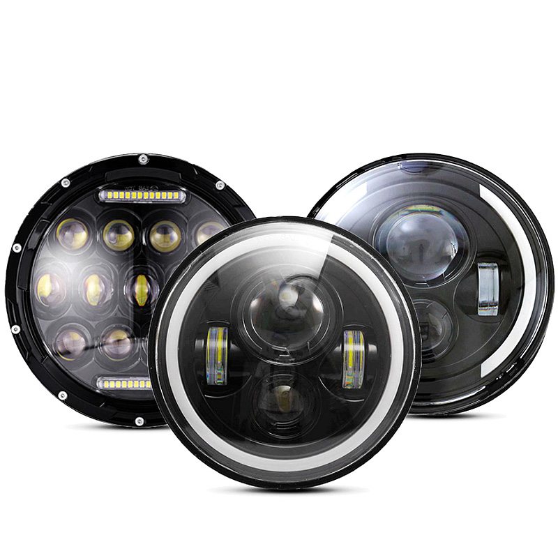 30W 7inch Round Led Headlight High Low Beam Light Halo Angle Eyes DRL Headlamp For Jeep Wrangler Off Road 4x4 Motorcycle