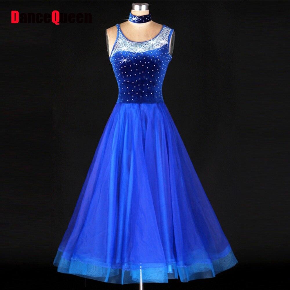 Ballroom Dance Dress Women Blue Luxury Rhinestone Jazz/Tango/Lulu Dance Dress Lady Viennese Waltz Dress Mermaid Costume Skirt