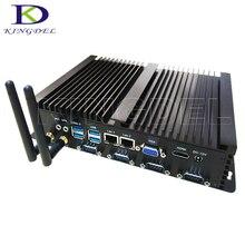 Kingdel DHL Бесплатная безвентиляторный промышленный мини-компьютер Intel Celeron 1037U, 4 RS232 ПРИХОДЯТ порт 2 Gigabit LAN, Win 7 NC250