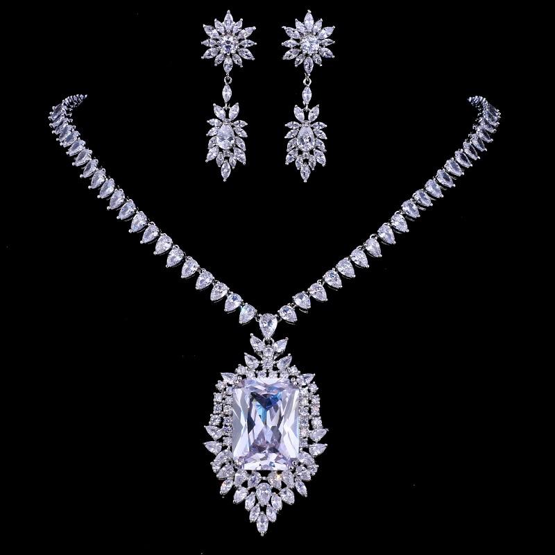 Emmaya Zircons AAA Quality Cubic Zirconia Big Rectangul Royal Blue Bridal Wedding Evening Earring Necklace Jewelry Set For Women 2